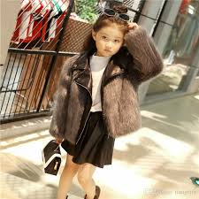new kids fur coats boys girls pu leather faux fox fur motorcycle jackets winter warm kids outerwear coats 2 9t girls jacket girls coats girls outerwear