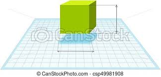Drawing In 3d Green Geometric Cube At Graph Paper