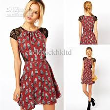 Dress Patterns For Women Beauteous Top Quality Women Sexy Lace Dress Owl Pattern Cotton Blended