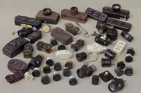 vintage deadstock electrical parts etc vintage bakelite hardware lot antique electrical outlets switches industrial salvage old stock