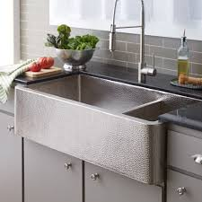 hammered copper kitchen sink: quot farmhouse duet pro double bowl brushed nickel apron front kitchen sink