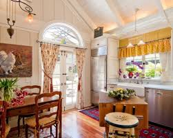 Long Curtains In Kitchen Traditional French Country Kitchen With High Quality Hardwood