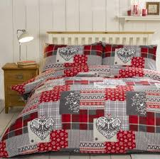 alpine patchwork duvet cover set 100 brushed cotton red zoom