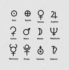 Planet Symbols Vector Alchemy Ancient Vector Icons