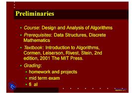 Design And Analysis Of Algorithms Mit Design And Analysis Of Algorithms Algorithm Lecture