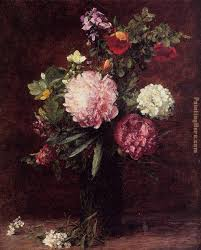 flowers large bouquet with three peonies painting henri fantin latour flowers large bouquet with
