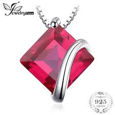 classic square red ruby pendant charm wedding fine jewelry without a chain image 1