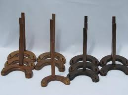 Wooden Display Stands For Plates new old stock walnut wood plate racks collector's display stands 8