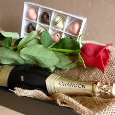 rose chagne and chocolates