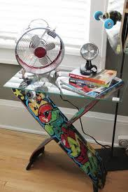 cool skateboard bedroom. skateboard table: this is an cool furniture that suitable for a side table bedroom ,