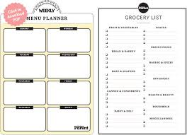 grocery checklist weekly meal planner