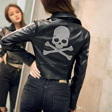 2017 black leather er leather jacket lady lady girl european station locomotive high end skull pattern women pu jacket jackets black leather