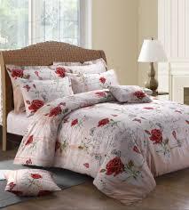 cream colour large rose flower vintage design reversible bedding duvet quilt cover set