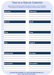 Year At A Glance Calendars Year At A Glance Worksheet Printable Free Worksheet