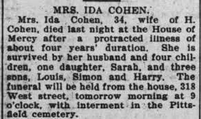 Obituary for IDA COHEN (Aged 34) - Newspapers.com
