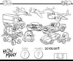 車や飛行機のゲームの色の本をカウント ぬりえブックのベクターアート
