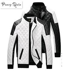 men leather jackets coats autumn black white lattice