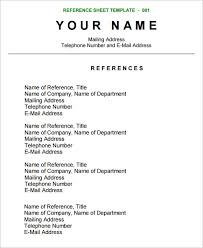 Resume Reference Template Musiccityspiritsandcocktail Com