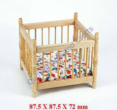 Dollhouse Miniature 1:12 Wooden Doll Furniture Toys Baby Crib Cradle ...