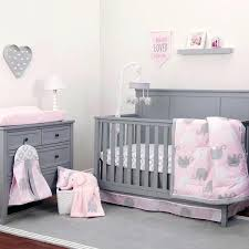 pink and gray baby girl nursery elephant crib bedding set blanket diaper