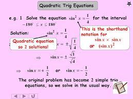 3 quadratic trig equations solution