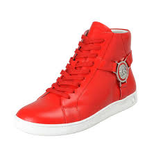 versace versus men s red leather hi top fashion sneakers shoes 0