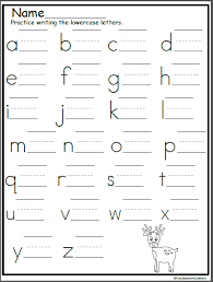 Practice Writing Letters Reindeer Lowercase Letter Writing Practice Madebyteachers