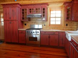 Cabinet Rustic Red Kitchen Cabinets .