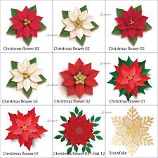 Flower Templates For Paper Flowers Christmas Paper Flowers Template Paper Poinsettia Flowers Templates Christmas Svg Cut Files Christmas And Holiday Decor Instant Download
