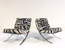 Vintage italian barcelona style dining Chair Vintage Barcelona Style Chairs Restored In Patchwork Zebra Hide Pair Forsyth 1stdibs Chairs Forsyth