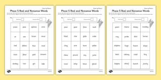 Variation of cloze procedure for application of key words, wordsearches and crossword style puzzles. Phase 5 Color By Phoneme Real And Nonsense Words Worksheet Worksheet Pack