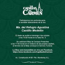 Sra. Ma. del Refugio Agustina Castillo Medellín - Capillas del  CarmenCapillas del Carmen