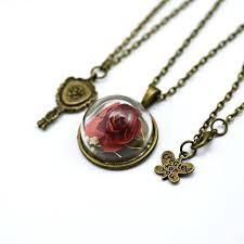 beauty and the beast inspired jewelry enchanted rose pendant belle necklace dry glass dome mirror charm