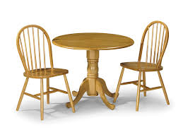 julian bowen dundee 90cm honey pine drop leaf round dining table and 2 windsor chairs set