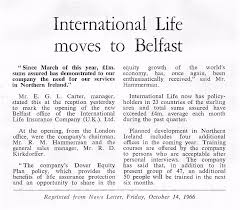 mr richard hammerman chairman and ceo and mr roy kirkdorffer general manager international life insurance co u k ltd were in belfast for the