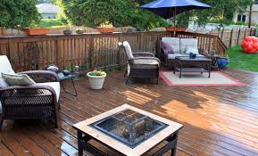 furniture beauteous outdoor living space decoration using deck layout including dark brown wooden flooring and