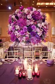 Purple wedding reception centerpiece.