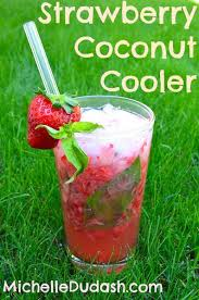fresh strawberry coconut water cooler