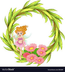A Green Round Border Design With A Fairy Vector Image