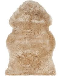 D Safavieh Sheepskin Collection SHS121M Genuine Pelt Beige Premium  Shag Rug 2u0027 X 3