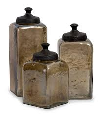 amazoncom  square brown luster canisters  set of   kitchen