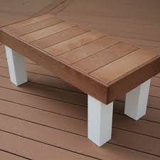 wooden bench covered with composite deck boards