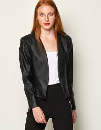 leather look open front jacket