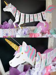 hanging decoration lovely unicorn design birthday party banner wall decorations at jolly chic