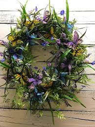 spring wreath for front doorButterfly Wreath for Front Door Spring Wreath Summer Wreath