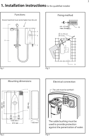 shower water heater model bs 35 45 60 bs 35 e 45 e 60 e 10 mm 10 a b d c 11 fig 1 fig 3 mounting dimensions electrical connection 9 8 the