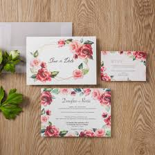 Red Save The Date Cards 1pcs Floral Red Rose Wedding Invitations Transparent