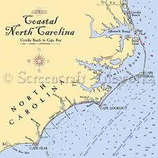 North Carolina The North Carolina Coast Nautical Chart Decor