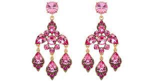 lyst oscar de la a magenta swarovski crystal chandelier earrings in purple