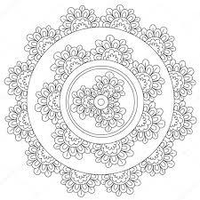 Floral Bloemen Mandala Kleurplaten Stockvector Ingasmk 113524576